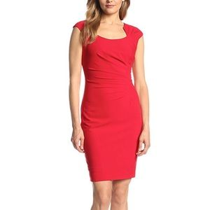 Calvin Klein red holiday dress cap sleeve ruched
